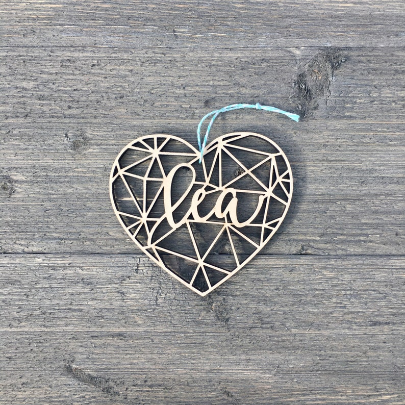 Personalized Heart Geometric Ornament 4 inches wide image 0