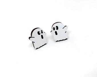 Little Spooks Ghost Earrings, Laser Cut Wood Earrings, Halloween, Mini Ghosts, Wooden Jewelry by Ngo Creations