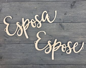Espose & Esposa Chair Signs, Wooden Chair Backs, Husband and Wife Signs, Rustic Chair Signs, Wood Sign