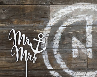 """Mr Anchor Mrs Wedding Cake Topper 6"""" inches, Marine Navy Nautical Beach Sailor Captain Topper Script Unique Laser Cut by Ngo Creations"""