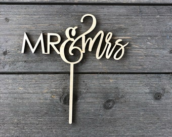 "Mr & Mrs Wedding Cake Topper 6"" inches wide, Version 2, Ngo Creations Laser Cut Wood Cake Topper"