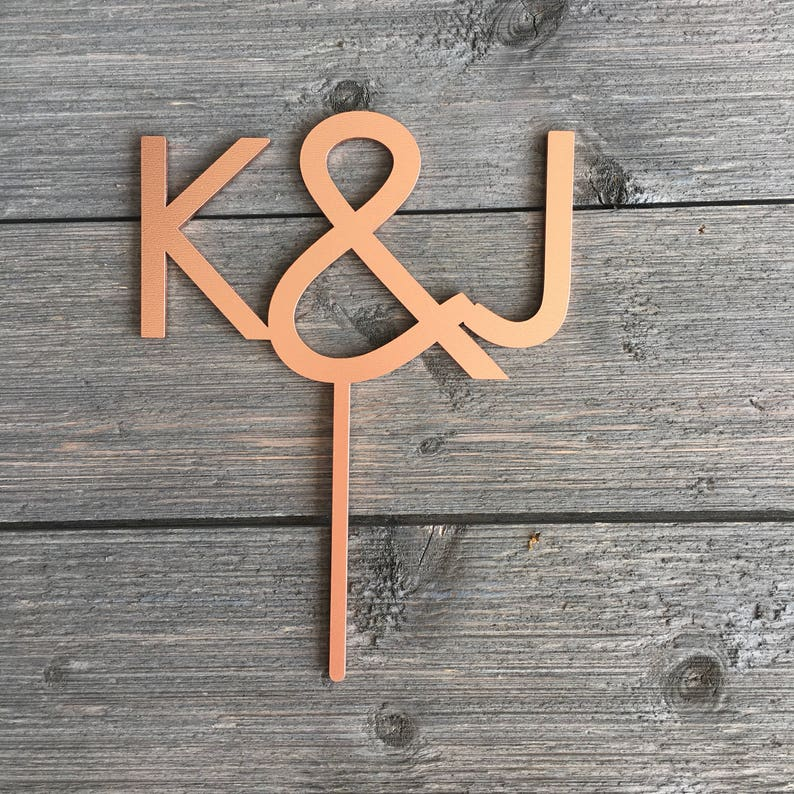 Initials Wedding Cake Topper 5 inches wide Custom image 0