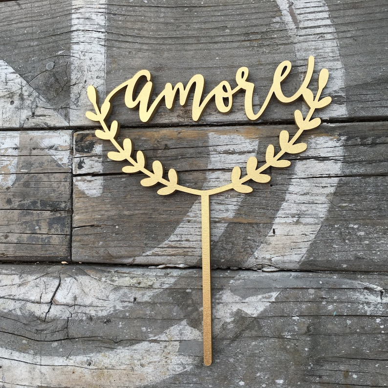 Amore Wedding Cake Topper  Modern Calligraphy  6.0 image 0