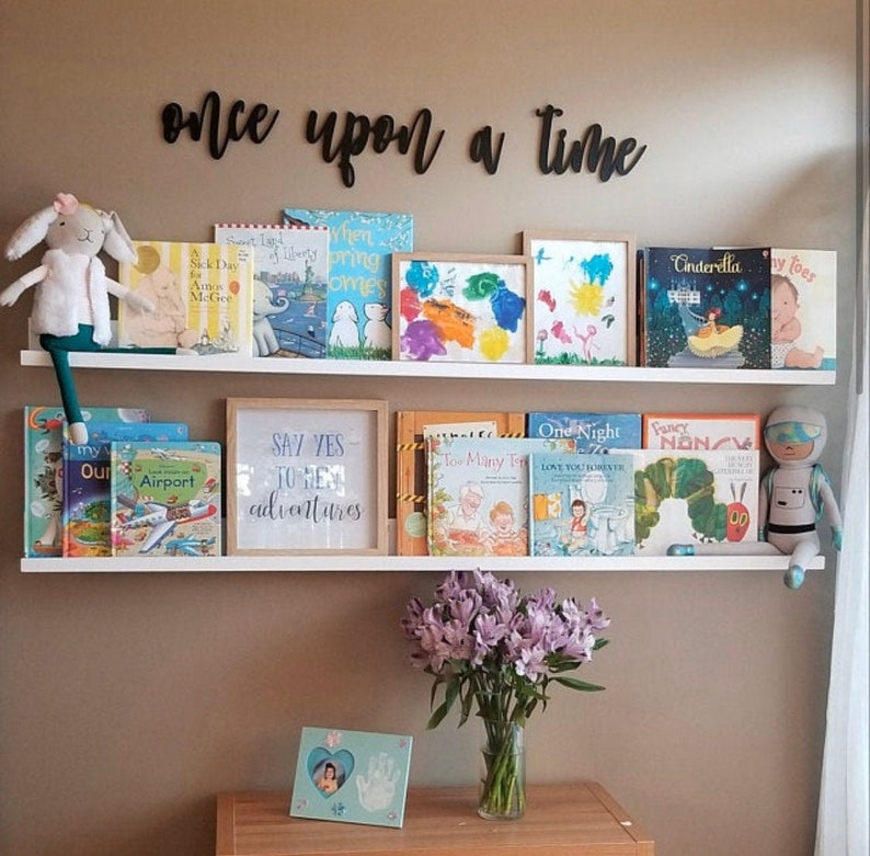 Once upon a time Small Quote Wall Sign Cutout Nursery Crib image 0