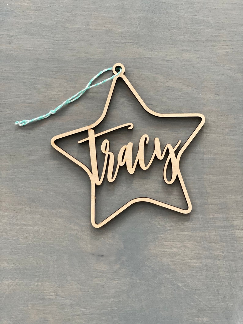 Personalized Star Name Ornament 4.5 inches wide Custom image 0