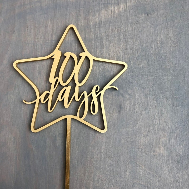 100 days Star Cake Topper 5.5 inches wide image 0