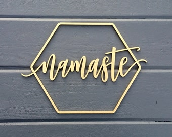 "Namaste Geometric Wall Sign, 14""W x 10""H, Wooden Sign Art for Nursery Decor Bedroom Kids Room Teen Room Laser Cut Wood Sign Relax Chill"