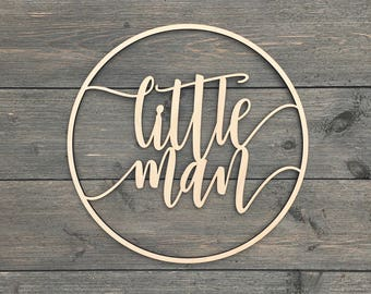 """Little Man Circle Wall Sign 11""""D inches Cut Out, Hangable Art for Nursery Decor Bedroom Kids Room Teen Room Laser Cut Wood Sign Boys Wooden"""