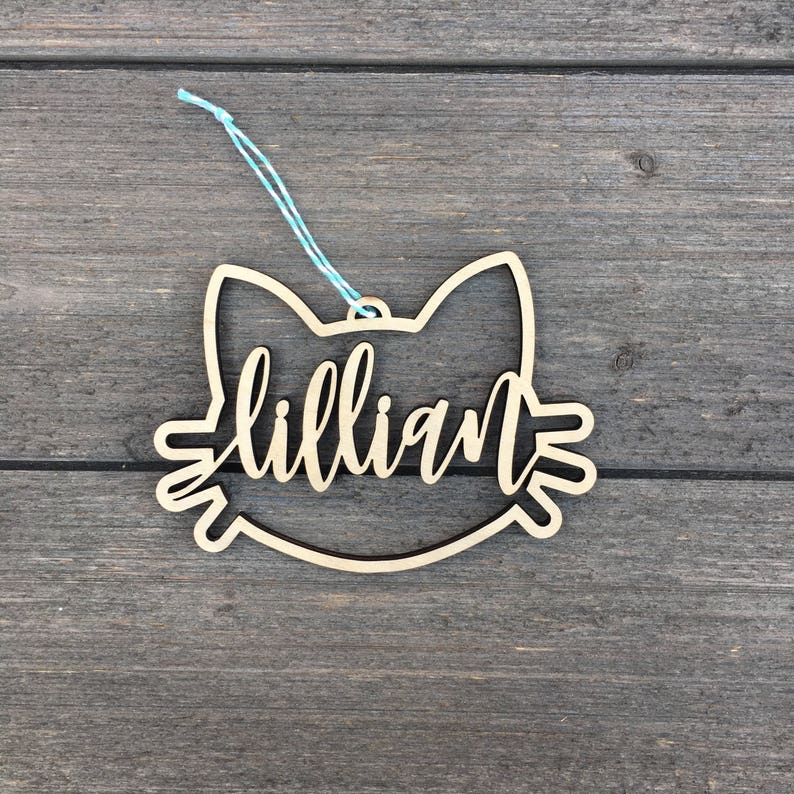 Personalized Cat Name Ornament 5 inches wide Custom image 0
