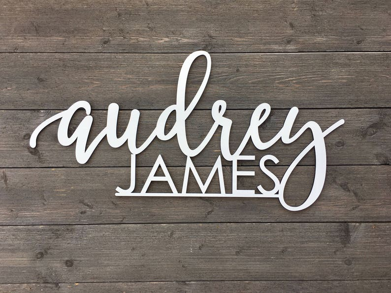 Personalized Name Sign with 2 Names Connected V2 - Custom Name Sign, Laser  Cut Name Sign, Backdrop, Wooden Name Sign, Nursery Sign, Gift