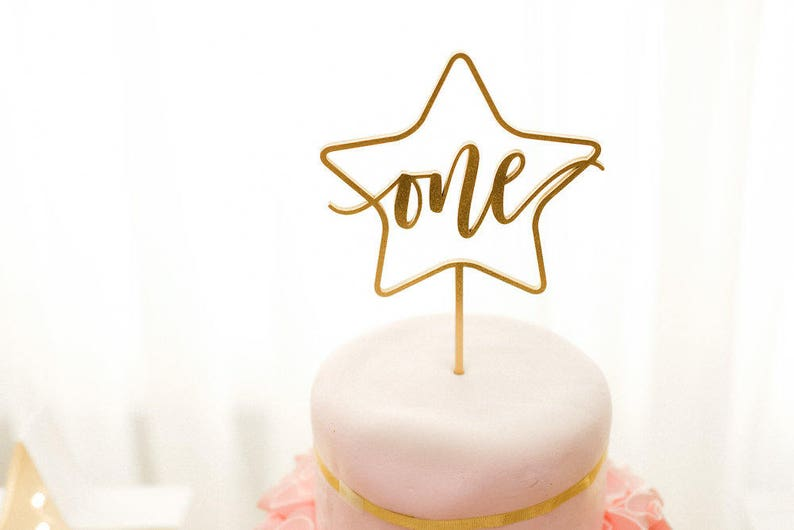 ONE Star Cake Topper 5.5 W inches  First Birthday image 0