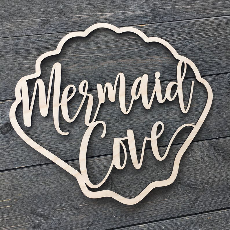 Mermaid Cove Wall Sign Cutout 14x12.75 inch size image 0