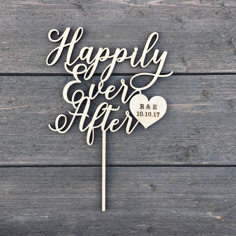 Personalized Happily Ever After Initials & Date Cake Topper image 0