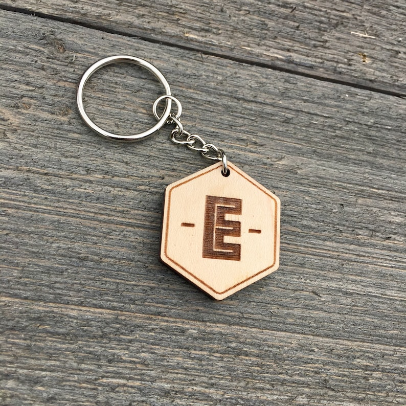 Initial Wooden Keychain Alphabet Wood Keychain Engraved Cute image 0