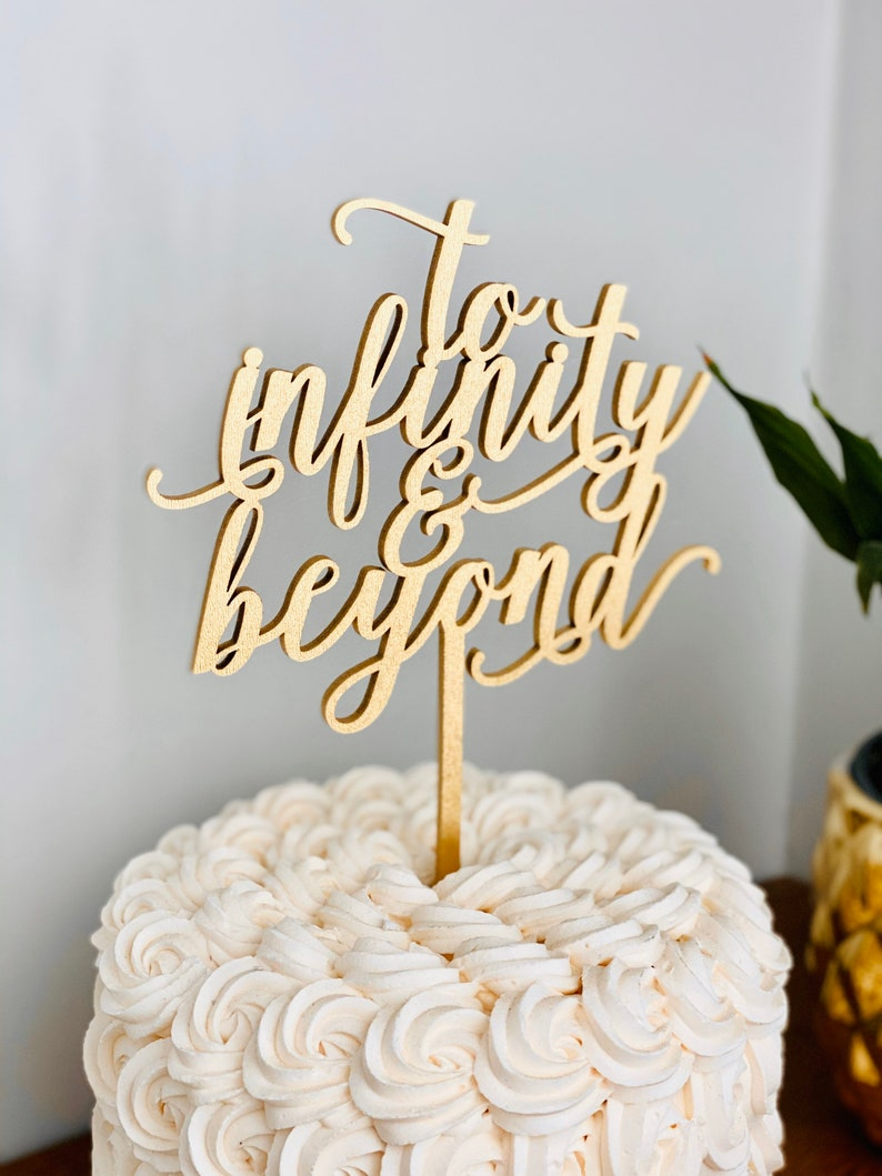 To Infinity and Beyond Wedding Cake Topper  Laser Cut Cake image 0