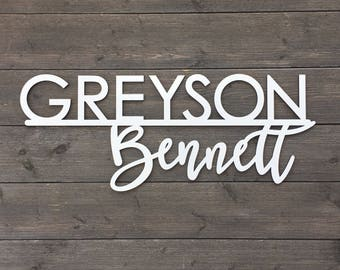 Personalized First and Middle Name Sign or First and Last, Custom Name Sign, Wooden Sign, Laser Cut Name Sign, Backdrop Sign, Nursery Sign