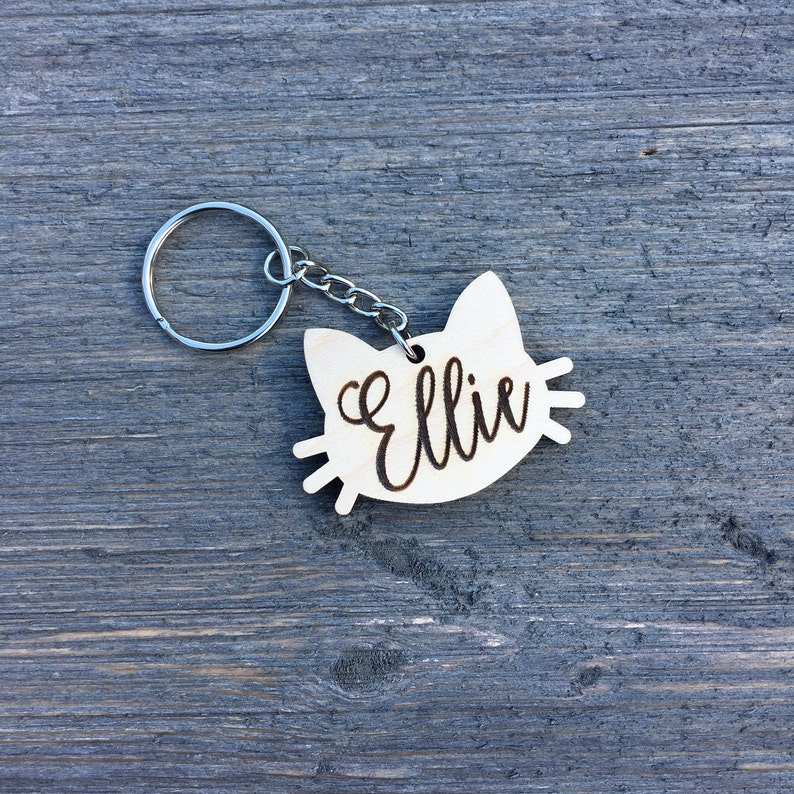 Personalized Cat Keychain Custom Keychain Engraved Wood image 0
