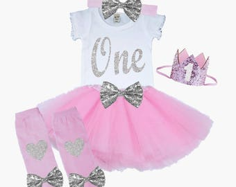 First Birthday Tutu Outfit Pink and Silver 1st Birthday Outfit Shirt Leg Warmers Hat Bow