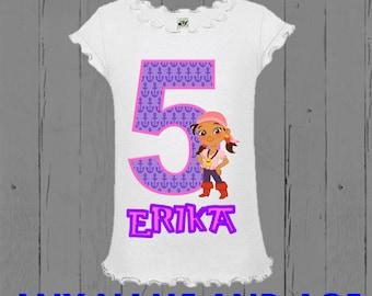 Jake and the Neverland Pirates Girls Birthday Shirt  - Izzy Birthday Shirt