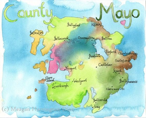 Map Of Ireland Mayo.Ireland Map County Mayo Ireland Fine Art Watercolor Print Map Art