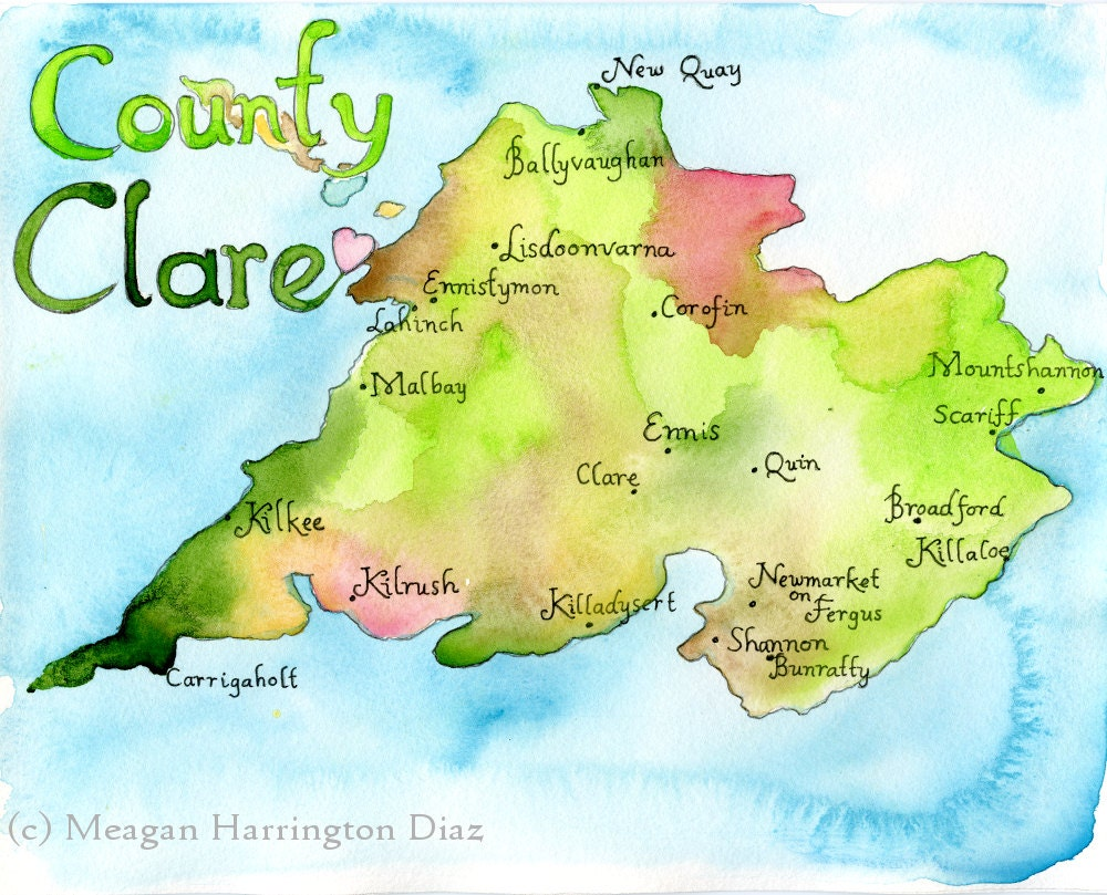 Map Art Print County Clare Ireland Map Irish Art Map Of Etsy