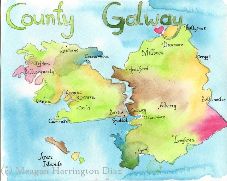 Map Of Ireland Galway County.Map Art Ireland Map County Galway Ireland Large 13x19 Fine Art Watercolor Print