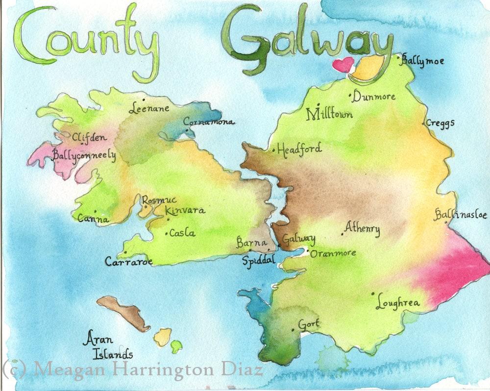 Map Art Ireland Map County Galway Ireland Large 13x19 Etsy