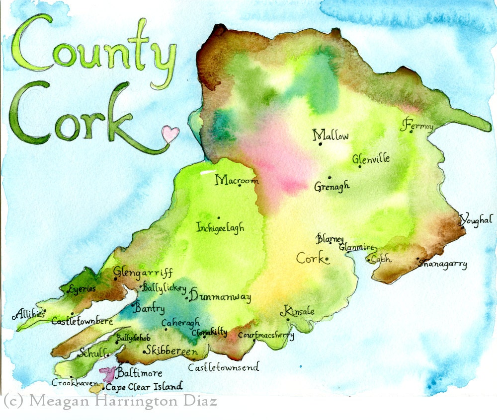Map Art Ireland Map County Cork Ireland Fine Art Watercolor Print Etsy