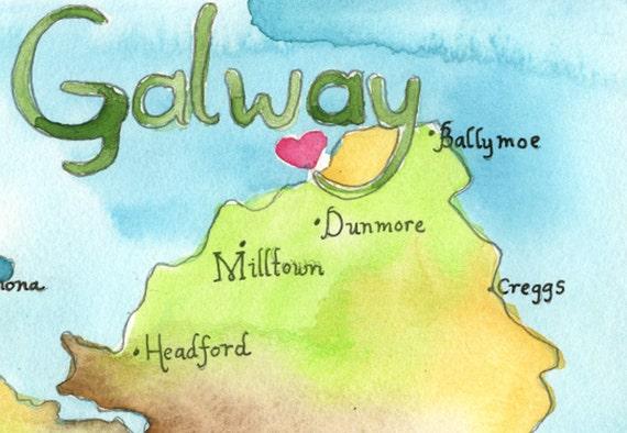 Map Art Ireland Map County Galway Ireland Fine Art Etsy