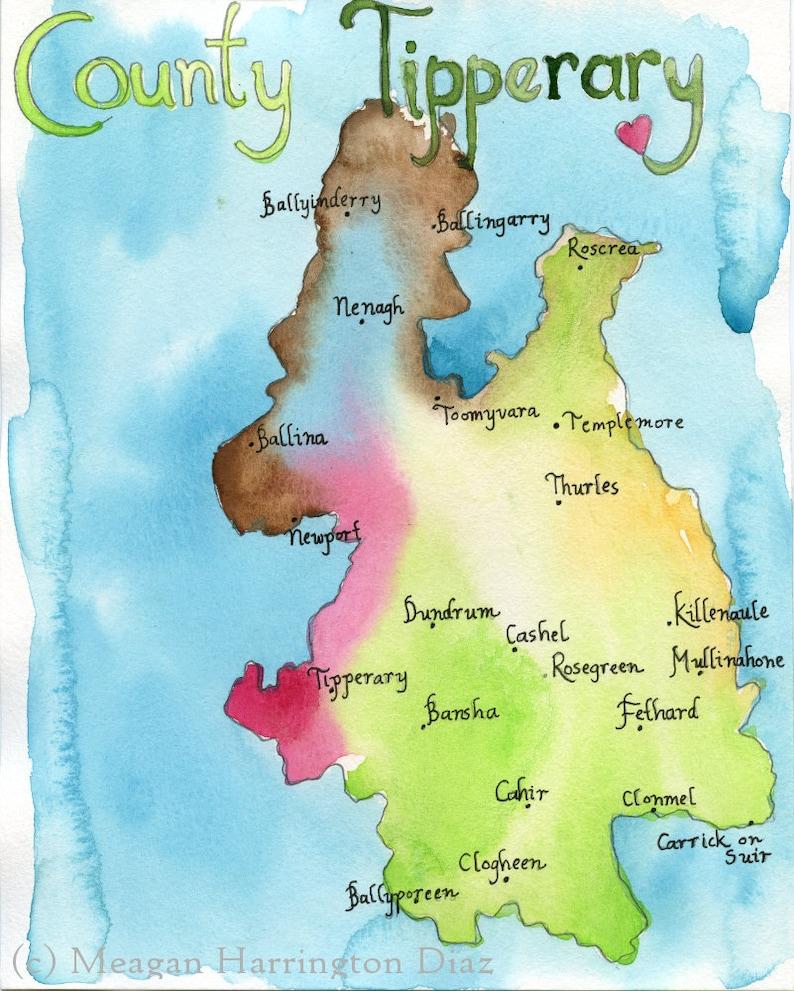 County Tipperary Ireland Map.Map Art Ireland Map County Tipperary Ireland Fine Art Etsy