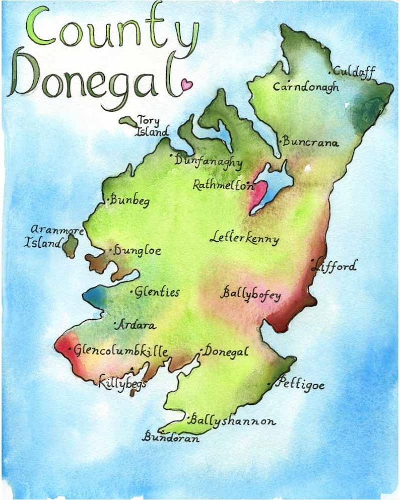 Map Of Ireland Counties And Towns.Map Art Ireland Map County Donegal Ireland Fine Art Watercolor Print