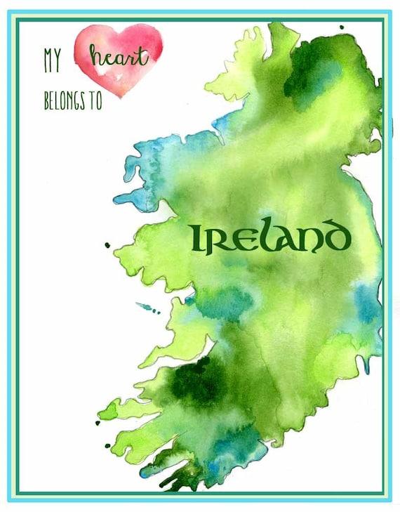 Irland Karte.Irland Karte Karte Art Mein Herz Gehort Nach Irland Mit Herz Fine Art Print Irland Aquarell