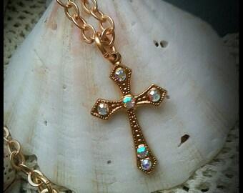 Swarovski Rhinestone Cross Satin Gold Necklace