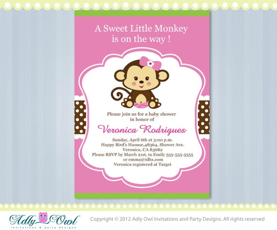 Baby Monkey Invitation For Baby Shower Editable In Pink Etsy