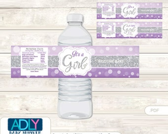 Purple Girl Baby Shower Water Bottle Wrappers, Labels, - it's a Purple Gray, Bokeh - ao125bs5