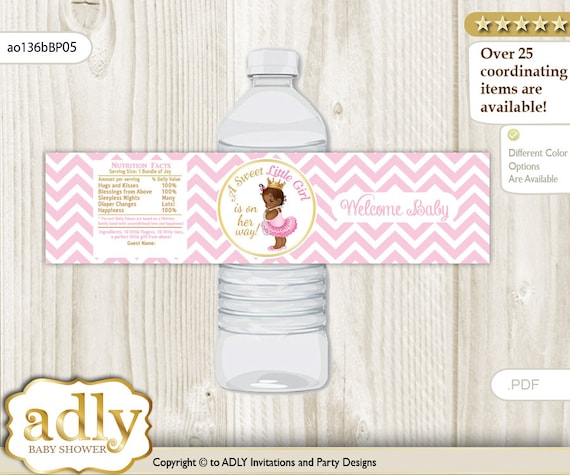 African Princess Baby Shower Water Bottle Wrappers Water Label