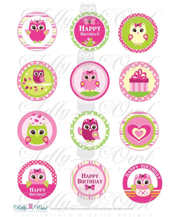 5e5c56273a5 Pink Girl Owl Birthday Cupcake Toppers or Favor Tags