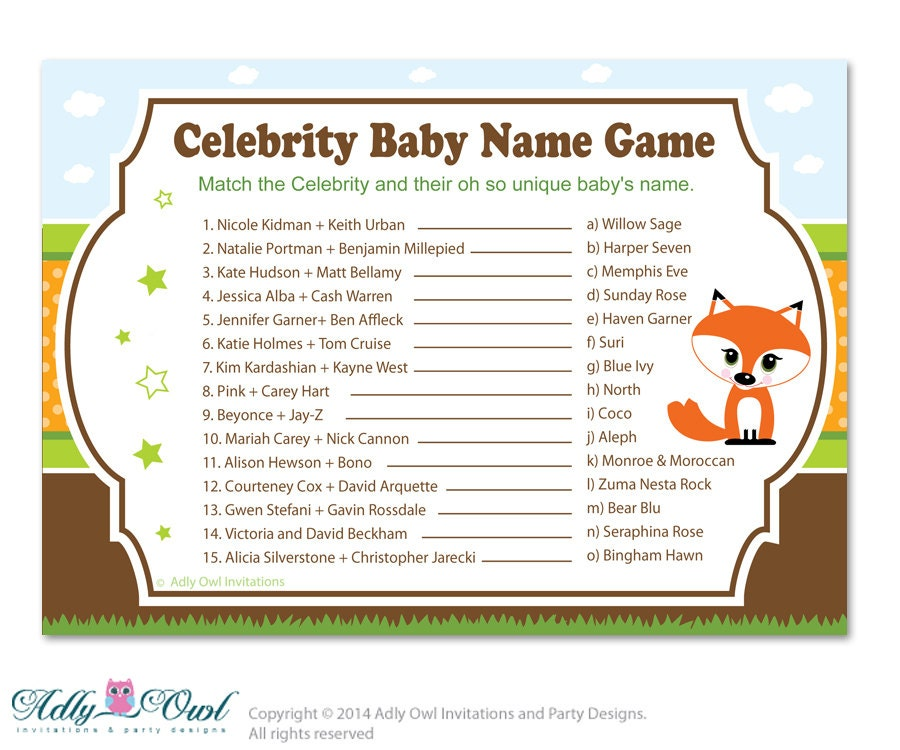 Twins Fox Owl Celebrity Name Game Guess Celebrity Baby Name | Etsy