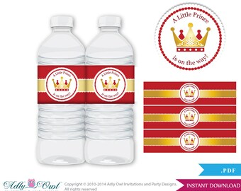 Red Gold Prince Baby Shower Water Bottle Wrappers, Labels, - it's a Boy Red Gold, Royal - ao86bs5