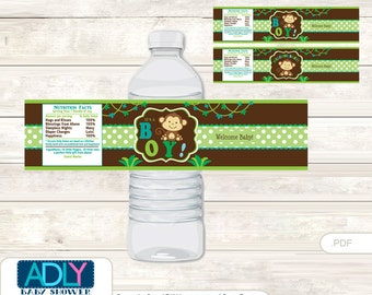 Boy Monkey Baby Shower Water Bottle Wrappers, Labels, - it's a Boy Brown Lime, Jungle - ao1bs5