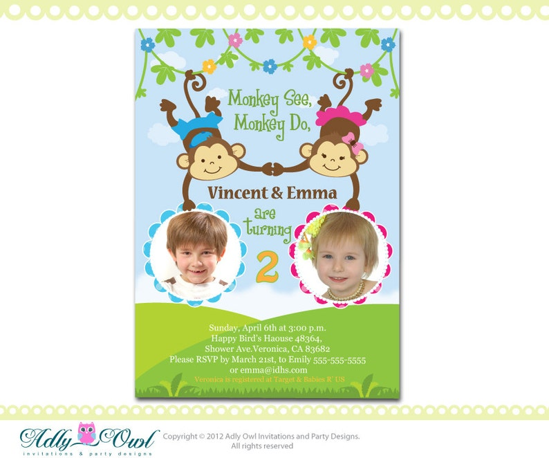 Personalized Twin Invite Second Birthday Invitation Card For Etsy