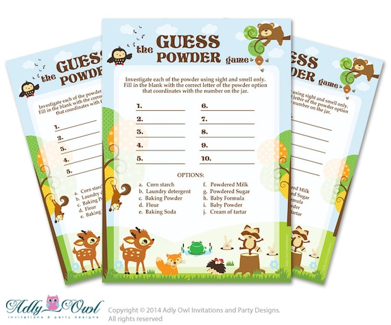 Forest Animals Guess Powder Game, Guess White Stuff Game for
