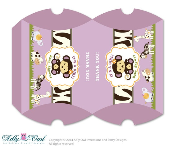 Girl Cocalo Jacana Candy Pillow Box Treat Printable For Baby Etsy