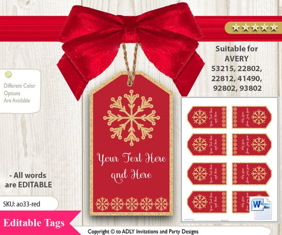 snowflake red gold tag for avery printable labels 8 per sheet