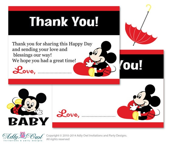 Boy Mickey Mouse Thank You Card Printable For Baby Boy Shower Or