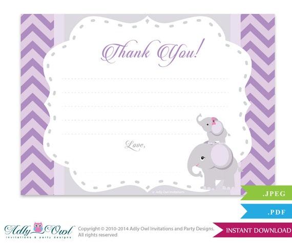 Purple Elephant Thank You Card Printable Lilac Gray Baby Girl