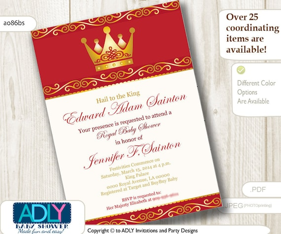 Royal Crown Invitation Editable In Red Gold With Boarder Design By
