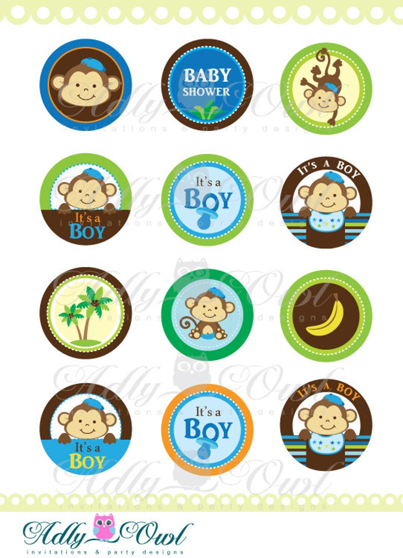 8b43c1207c4 It s a Boy Monkeys Cupcake Toppers or Favor Tags