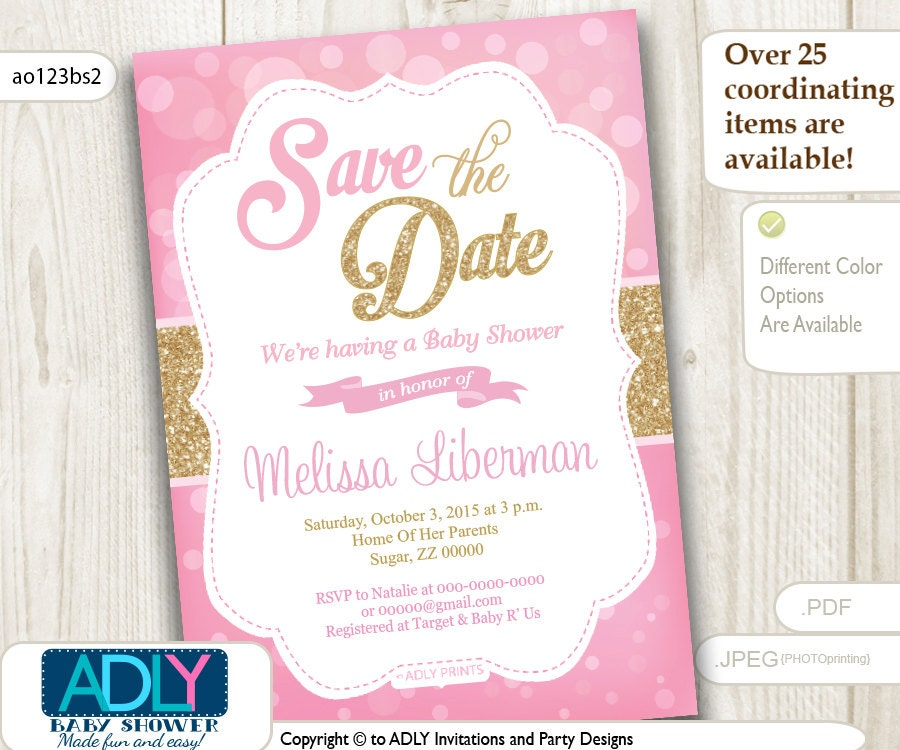 Save The Date Invitation For Baby Shower Editable In Pink Etsy
