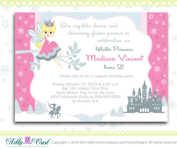 Winter fairy princess girl birthday invitation card with snowflakes il570xn filmwisefo